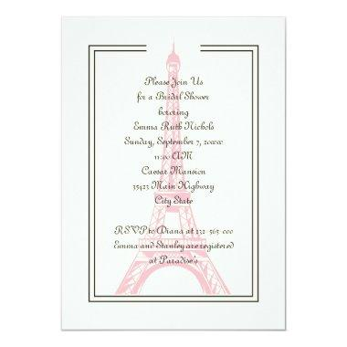 Paris wedding pink Eiffel Tower bridal shower Invitations
