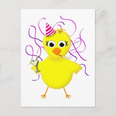 Party Chick Cute & Funny Cartoon Invitation Post