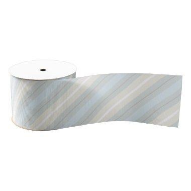Pastel Blue and Gray Stripes Pattern Ribbon