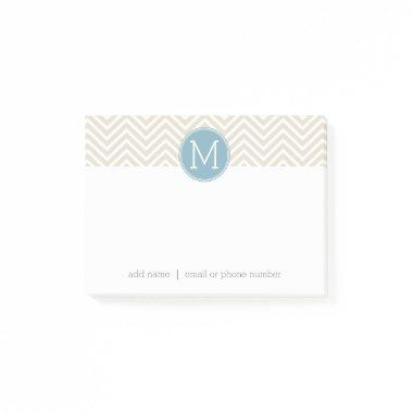 Pastel Blue and Linen Chevrons Custom Monograms Post-it Notes