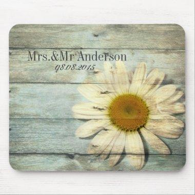 pastel blue barnwood country daisy wedding mouse pad