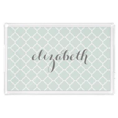 Pastel Mint & Gray Quatrefoil Pattern Custom Name Acrylic Tray