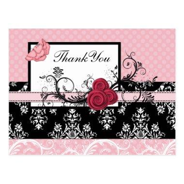 pastel pink damask polka dots Thank you PostInvitations