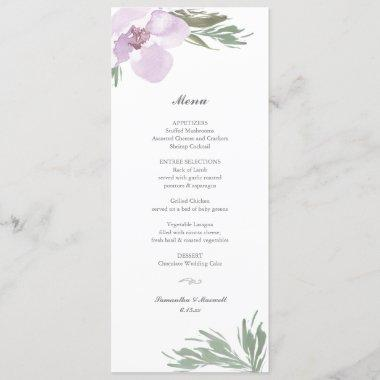 Pastel Pink Floral Dinner Menu Invitations