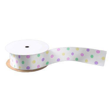 Pastel Polka Dot Pattern Satin Ribbon