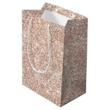 Pastel Rose Gold Glitter Stylish Medium Gift Bag