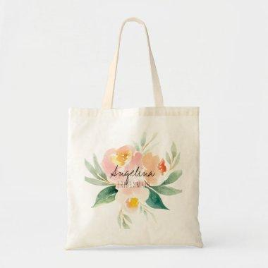 Peach and blush floral bridesmaid gift tote bag