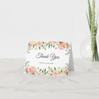 Peach and Coral Peony Floral Thank You Invitations