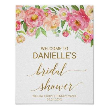 Peach and Pink Peony Flowers  Welcome Poster