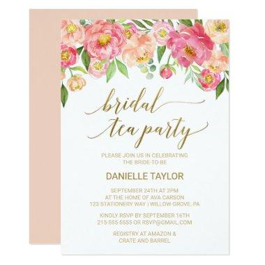 Peach and Pink Peony Flowers Bridal Tea Party Invitations