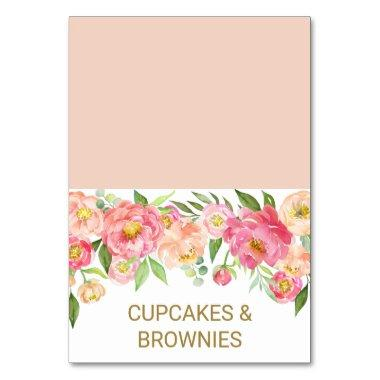 Peach and Pink Peony Flowers Food Tent Invitations