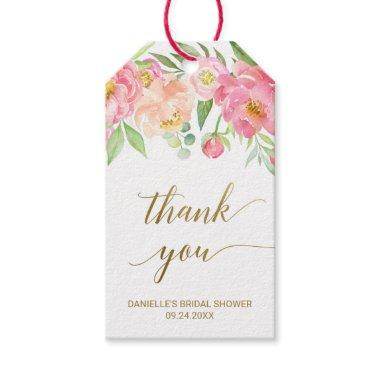 Peach and Pink Peony Flowers Thank You Favor Gift Tags