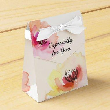 Peach and Pink Watercolor Floral Favor Box