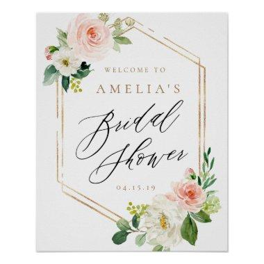 Peach and White Floral Bridal Shower Welcome Sign