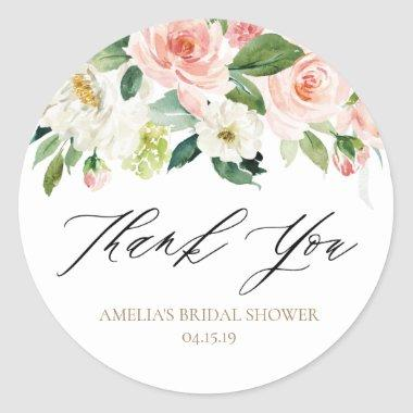 Peach and White Floral Thank You Sticker