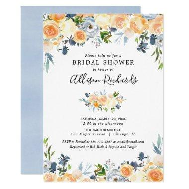 Peach coral blue floral watercolor bridal shower Invitations