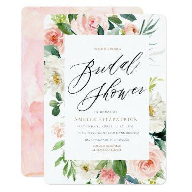 Peach Floral Bridal Shower Invitations