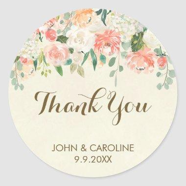 peach floral thank you favors sticker elegant