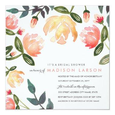 Peach Peonies Bridal Shower Invitations