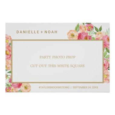 Peach & Pink Peony Flower Wedding Photo Prop Frame Poster