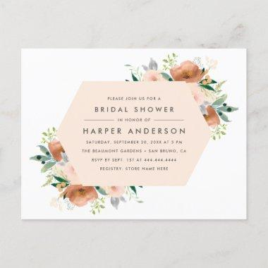 Peach Watercolor Floral Spring Bridal Shower Invitation PostInvitations