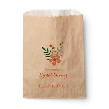 Peach, Yellow & Blue Flowers, Bridal Shower Favor Bag