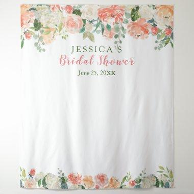Peaches Floral Bridal Shower Photo Booth Backdrop