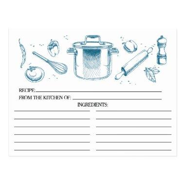 Peacock Blue Sketched Kitchen Tools Recipe Invitations