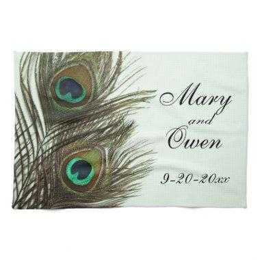 Peacock Feather Customizable Kitchen Towel