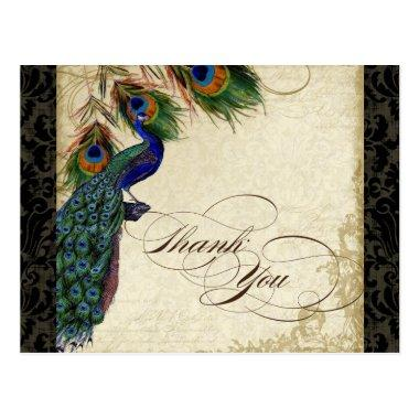 Peacock & Feather Formal Thank You Note Black Tan PostInvitations