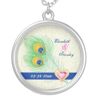 Peacock feather jewel heart wedding anniversary silver plated necklace
