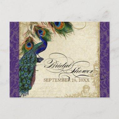 Peacock & Feathers Formal Bridal Shower Purple Invitation PostInvitations