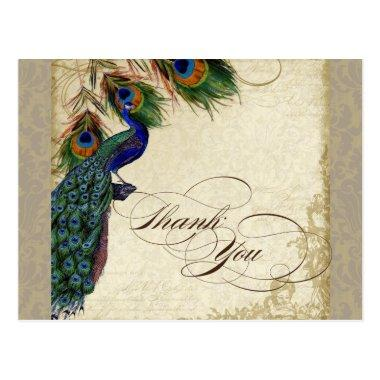 Peacock & Feathers Formal Thank You Note Aqua Blue PostInvitations