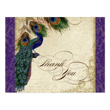Peacock & Feathers Formal Thank You Note Purple PostInvitations