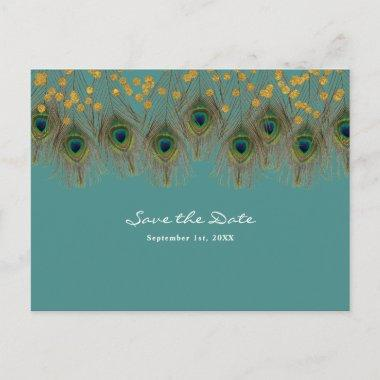 Peacock Feathers & Gold ANY COLOR Save the Date Announcement PostInvitations