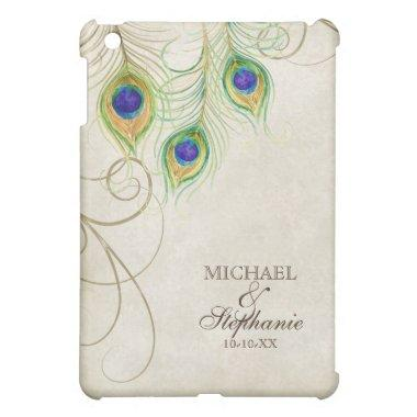 Peacock Feathers Royal Damask Personalized Names iPad Mini Case