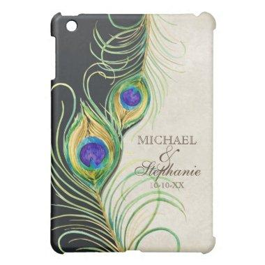 Peacock Feathers Royal Damask Personalized Names iPad Mini Cover