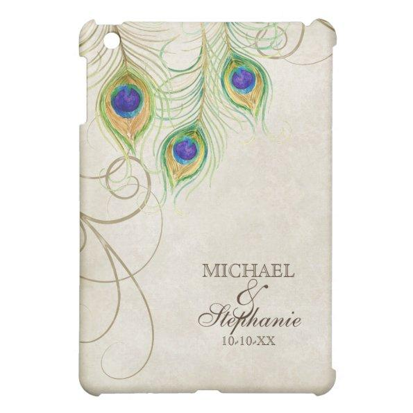 4465 peacock feathers royal damask personalized names ipad mini cover