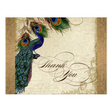 Peacock & Feathers Vintage Gold Look Damask Swirl PostInvitations