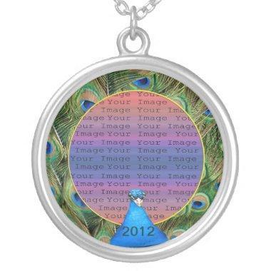 Peacock Wedding Photo Silver Necklace