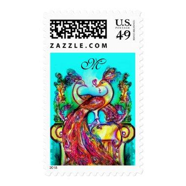 PEACOCKS IN LOVE MONOGRAM red blue turquase green Postage