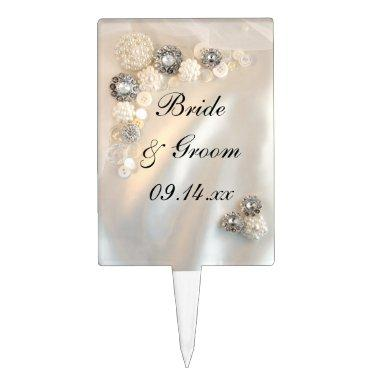 Pearl and Diamond Buttons Wedding Cake Topper