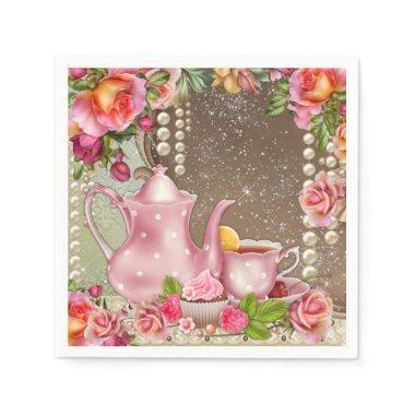 Pearl Rose Tea Party Bridal Shower Paper Napkin