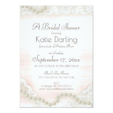 Pearls and Lace Blush Bridal Shower Invitations