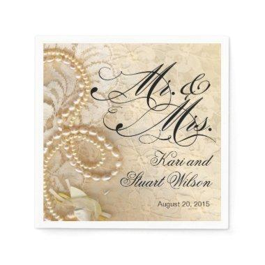 Pearls and Lace Mr. & Mrs. | ivory Paper Napkins