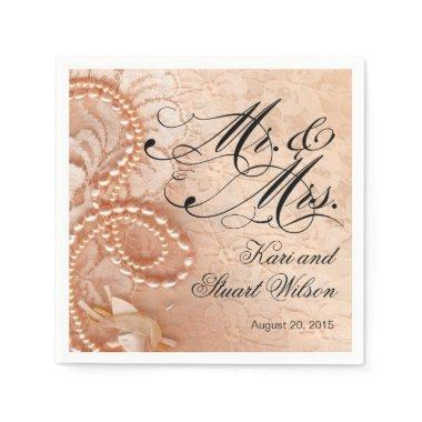 Pearls and Lace Mr. & Mrs. | peach Paper Napkins
