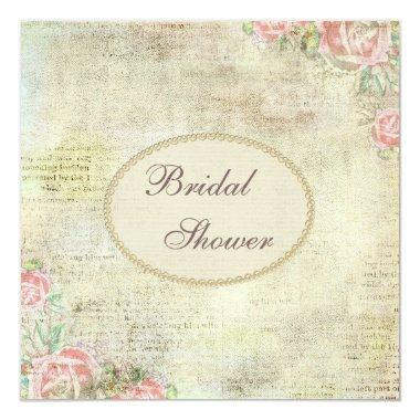 pearls lace shabby chic roses bridal shower invitations