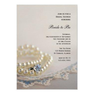 Pearls, Ring and Vintage Blue Lace Bridal Shower Invitations