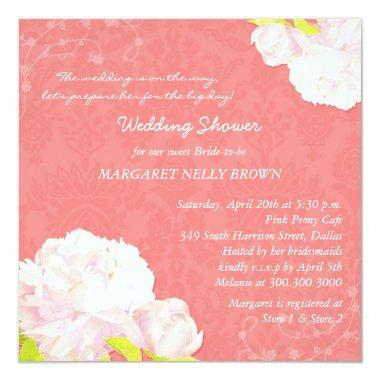 Peony Blooms  Coral Reef Damask Bridal Shower Invitations