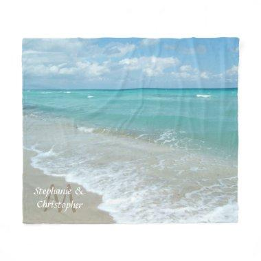 Personalized Aqua Beach Wedding Monogram Names Fleece Blanket